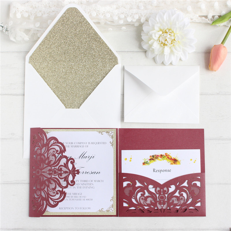 Personalized luxury wedding invitations laser cut wedding cards with RSVP envelop glittery greeting cards 50PCS