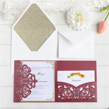 Personalized luxury wedding invitations laser cut cards with RSVP envelop glittery greeting 50PCS