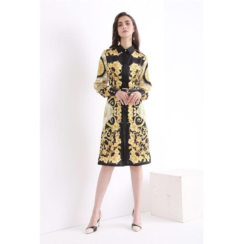 Di alta qualità 2018 di modo di retro stampa sottile cinturino in metallo decorazione del tasto manica lunga casual donna di temperamento del vestito-in Abiti da Abbigliamento da donna su  Gruppo 1