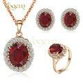 Vogem popular 2016 criado rubi conjunto de jóias bijutaria rosa banhado a ouro colar/brincos/anel set para o acoplamento do casamento conjuntos