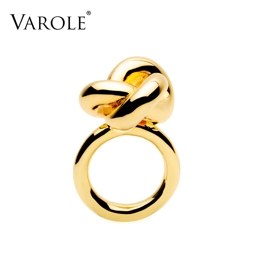 купить 2017 New VAROLE Fashion infinity Knotting Ring Design Gold Color Midi Rings for Women Ring Jewelry Anel Feminino по цене 545.46 рублей