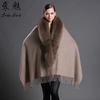 Russian Women's Cashmere Coat With Real Fox Fur Collar Fashion Women Ponchos And Capes Cashmere Female Pashmina Shawl Coat