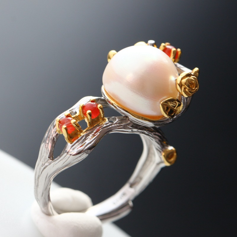 Fortune pavilion silver wholesale fashion speak Thai silver female offered 925 sterling silver with natural pearl ring