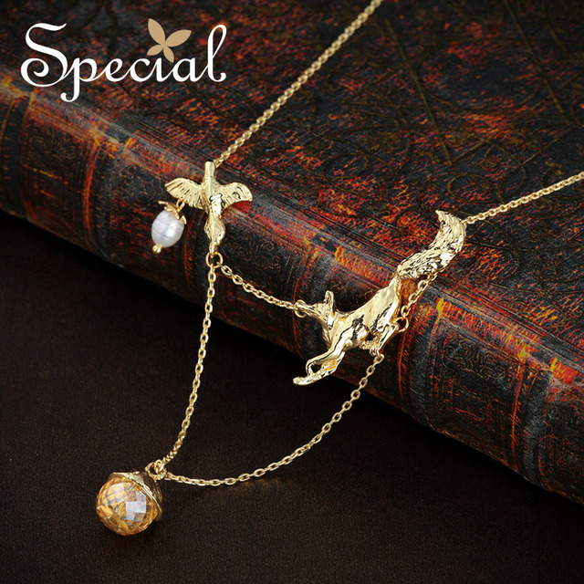 Special New Fashion Gold-plated Natural Pearls Necklaces & Pendants Animal Pendants With Crystal Jewelry Gifts for Women S1640N