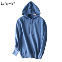 Lafarvie Autumn Winter New Knitted Hooded Cashmere Sweater Women Solid Color Plus Size Loose Female Pullover Knitting Sweater