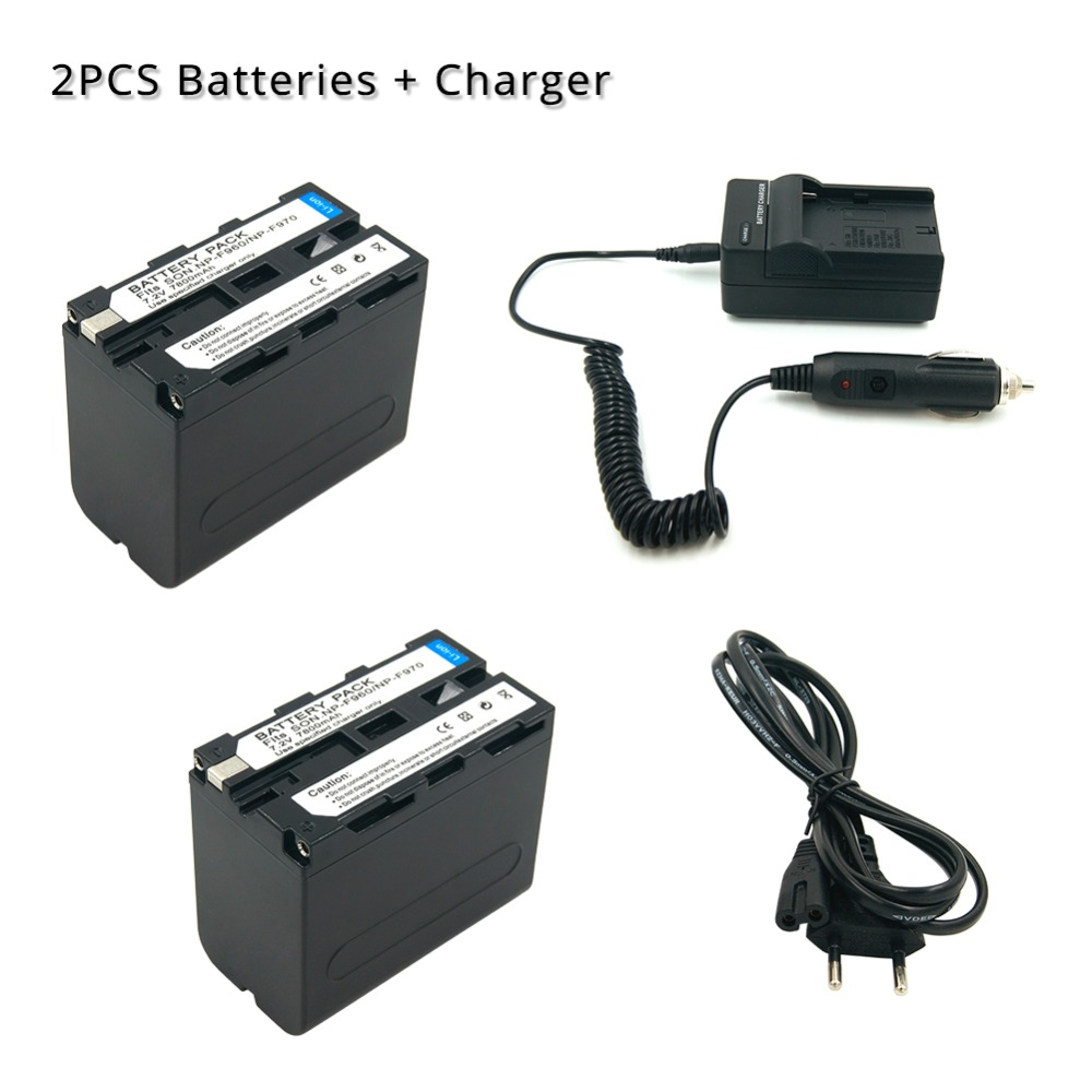 2 7800mAh 7 2V Digital Camera Batteria For Sony NP F960 NP F970 1 Car Charger