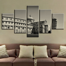 Canvas HD Prints Posters Home Decor Frame 5 Pieces Piazza Dei Miracoli Paintings Leaning Tower Of Pisa Pictures Modular Wall Art