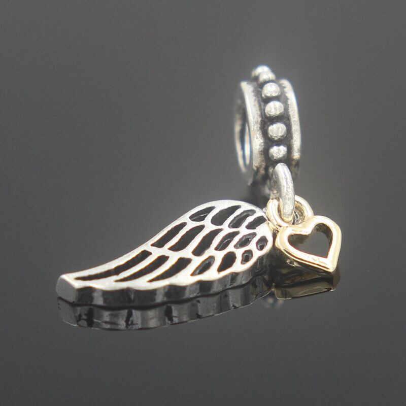 האופנה 1PC תכשיטי אירופאי כסף צבע תליון זהב צבע לב אהבת והכוונת מלאך כנף Fit קסמי DIY צמיד