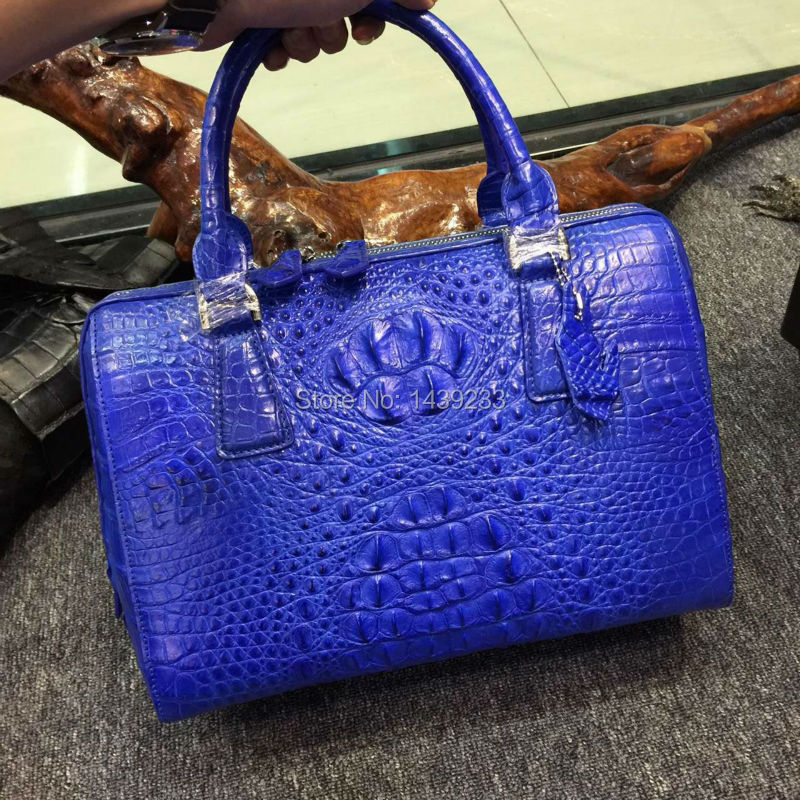 100% Real/Genuine Crocodile Skin Women Tote bag Tote Top-handle Handbag, Crocoidle skin Lady pillow style zip closure handbag stylish women s tote bag with clip closure and crocodile print design