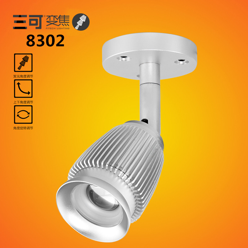 New 3W Cob Zoomalbe LED Ceiling Light Spotlight Showcase Light Museums Background Wall Light Super Bright Luminous Light