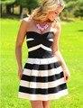 2016 hot sale striped dress outono fora do ombro mangas strapless moda sexy clube mulheres dress bainha backless vestidos