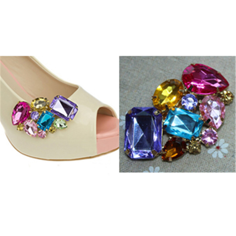 1PC Crystal Shoes Buckle Women Shoes Decoration Clips Bridal Charm Decor Fashion Shoe Accessories For Wedding Party