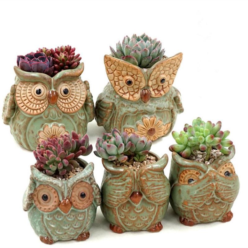 Owl famiglia bonsai piccoli vasi di fiori decorativi in for Vasi decorativi per giardino