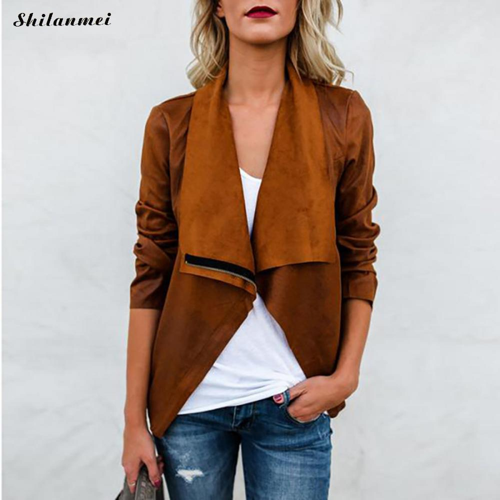 2018 New Fashion Women Autumn Winter lapel collar Faux Leather Jackets Lady Bomber Motorcycle Cool Outerwear Coat Hot Sale