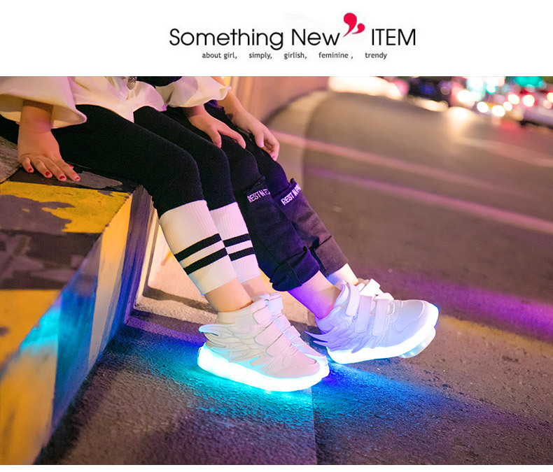 HTB1bFR4eXmWBuNjSspdq6zugXXax - UncleJerry Kids Light up Shoes with wing Children Led Shoes Boys Girls Glowing Luminous Sneakers USB Charging Boy Fashion Shoes