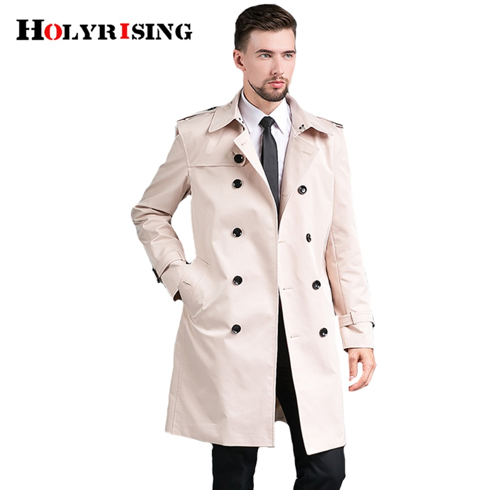 Holyrising 남자 트렌치 코트 더블 버튼 천 슬림 세련된 영국 신사 윈드 코트 망 오버코트 5 색 S 4XL 18489 5-에서트렌치부터 남성 의류 의  그룹 3