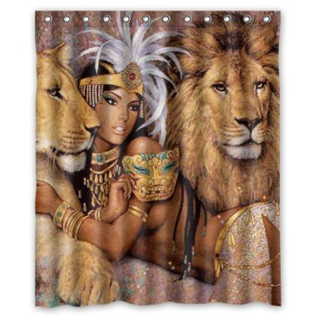 Beautiful Woman African Lion Waterproof Shower Curtain Polyester Fabric  180x180cm Bathing Curtains With Hook Decorations