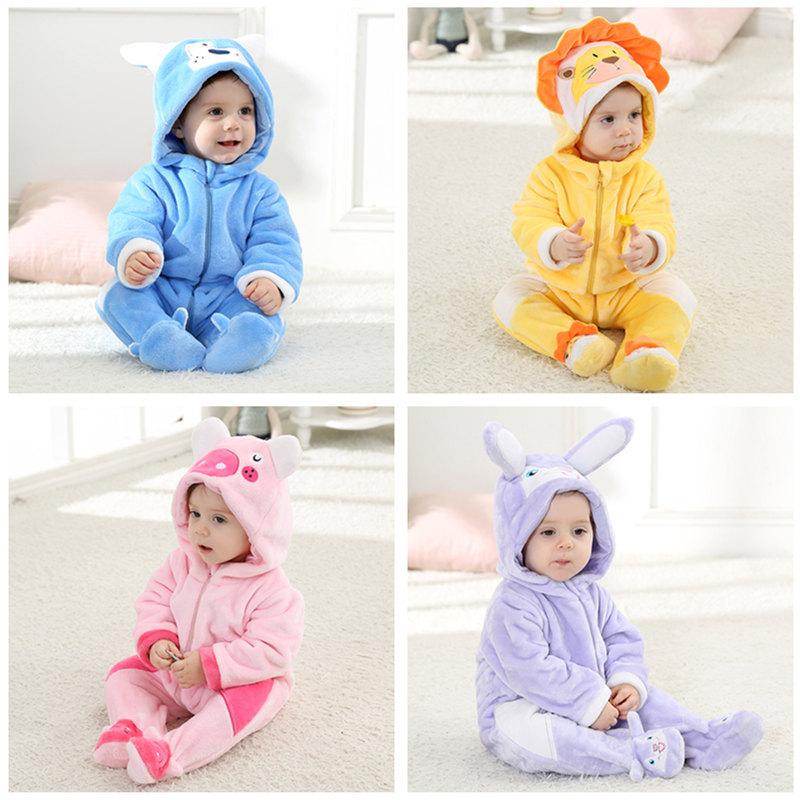 Lovely Baby Romper Animal Jumpsuit Cartoon Lion Dog Rabbit Pig Infant Pajamas Kids Cute Toddler Newborn Girl Boy Clothes цена