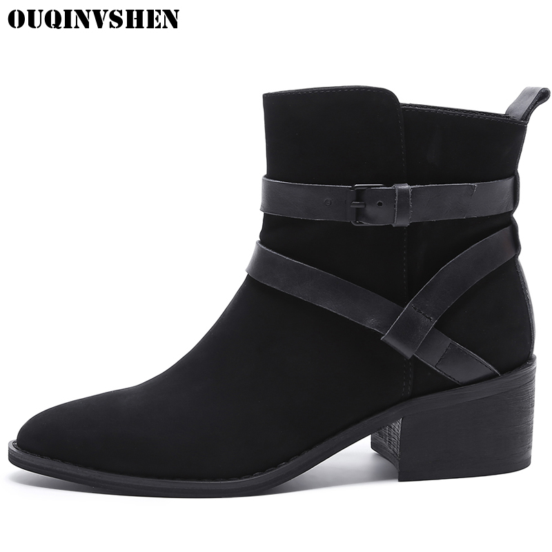 OUQINVSHEN Pointed Toe Square heel High Heels Women Boots Casual Fashion Ladies Mid Heel Ankle Boots New Zipper Women's Boots nemaone 2018 women ankle boots square high heel pointed toe zipper fashion all match spring and autumn ladies boots