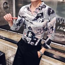 2018 new stitching mens long-sleeved shirt Korean version of Slim casual retro printing shirts from hot tide