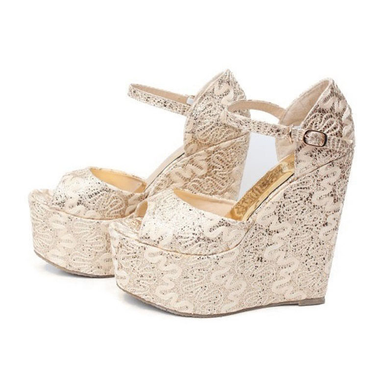 New 2016 Size 30-43 Fashion Golden Sexy Women Wedges Sandals High Heels Ladies Pumps Shoes Woman Summer Style Chaussure Femme 38 2016 new style wedge sandals sexy high heels fashion pastoral style shoes women sandal sandalias mujer sandales femme size 35 43