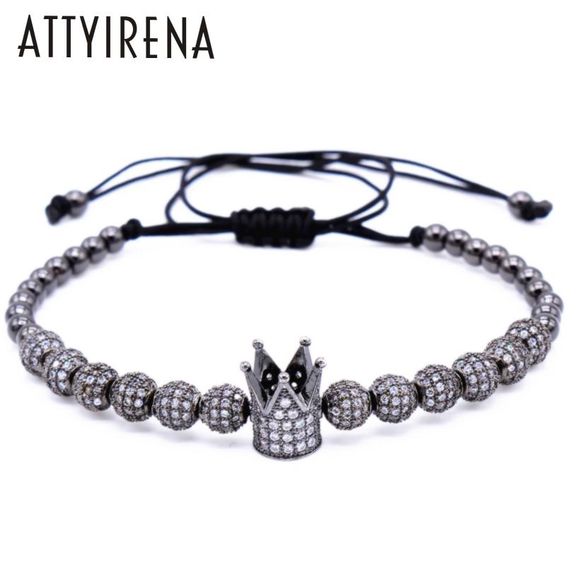 ATTYIRENA New Zircon Bracelets Men Jewelry Cubic Micro Pave CZ Crown Charm&4mm Gold Round Beads Braided Macrame Bracelet