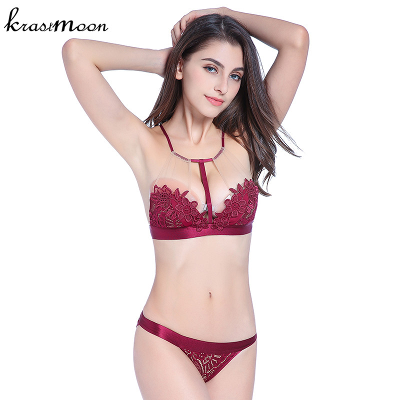 59cac21a5a Brand women Sexy Lace Embroidery Push Up Bra Sets High Quality Halter Bra  And Panty Set