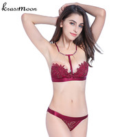 Brand Women Sexy Lace Embroidery Push Up Bra Sets High Quality Halter Bra And Panty Set