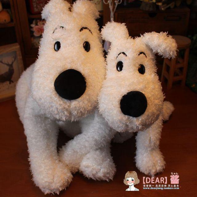 Chegada nova Big The Adventures of Tintin Nevado Cão Bonito Cão Branco de Pelúcia Macia Boneca de Brinquedo de Pelúcia Crianças Presente de Aniversário