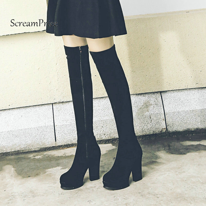 New Suede Platform Square High Heel Woman Over The Knee Boots Side Zipper Winter Stretch Boots Fashion Ladies Thigh Boots