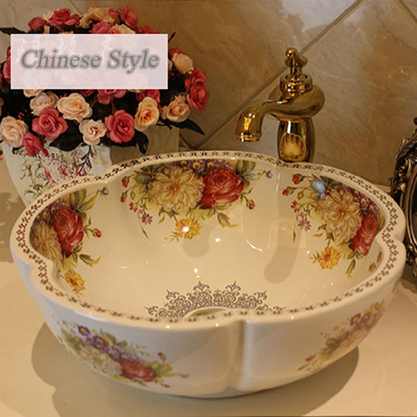high quality ceramic colorful Peony wash basin European art bathroom basin free shipping ceramic stage wash basin sanitary ware art bathroom basin retro style palace fish free shipping