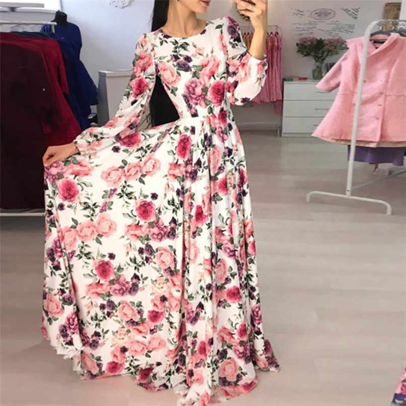 Robe Femme Ete 2018 Boho Women Floral Print Bohemia Zipper Party Evening  Prom Swing Floor- c55e1c0211c9