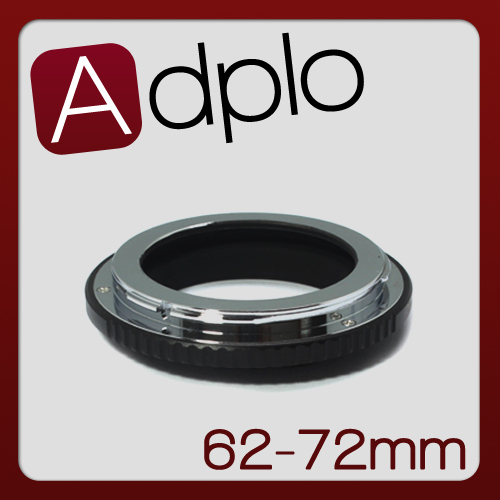 62-72mm Step-Up Metal Adapter Ring / 62mm Lens to 72mm Accessory
