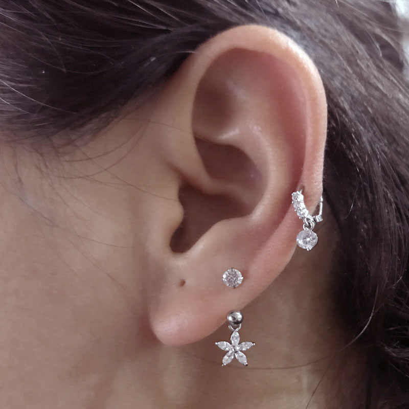 c1172853e ... Sellsets 1 PC Steel CZ Hoop With Cubic Zirconia Dangle Ear Tragus helix  Daith Cartilage Rook ...