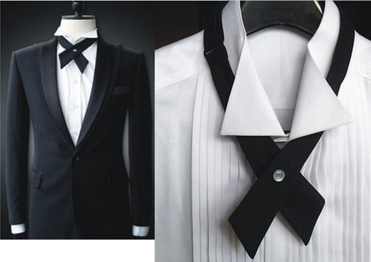 New 2016 Tuxedo Bow Tie Unique Cross Tie Bow Tie Men And Women Host MC Performance Tie 6 Color LD8005