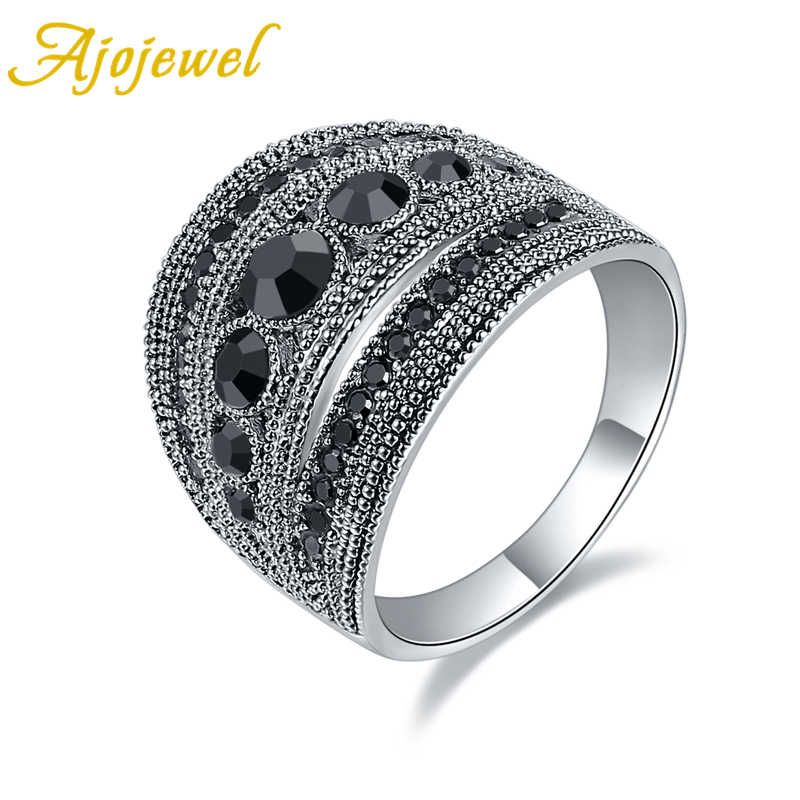 Ajojewel Best Selling Fashion Jewelry Black CZ Geometric Vintage Retro Finger Ring Women High Quality Wide Design Party Jewelry