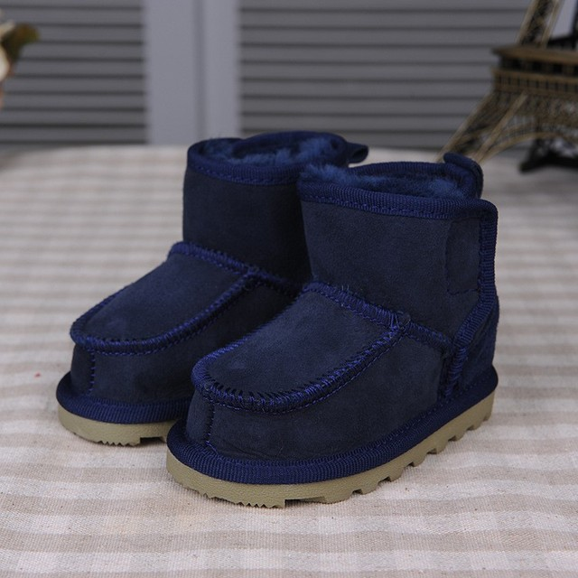 Real Goat Fur Baby Boy Winter Snow Boots 2017 Brand Kids Baby Ugly Boots Shoes Children Geanuine Leather Australia Shoes 1-4 Age