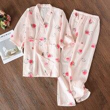 Women 100% Cotton Pajamas Summer Double-layer Gauze Pajama Set  Loungewear Printing Pijama Maternity Set Clothes Home Sleepwear цены