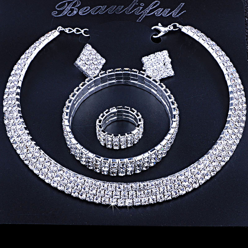 Aliexpress.com   Buy Classic Circle Rhinestone Crystal Wedding Jewelry Sets  African Jewelry Set Necklace Earrings Bracelet from Reliable necklace  earrings ... e3ec813896ff