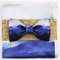 JEMYGINS Original Design Printing Blue Cordillera Picture Simple Wash Painting Chinese Man Bow Tie Pocket Square