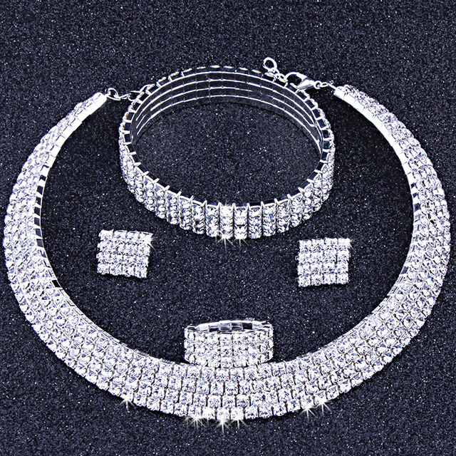 Classic Circle Rhinestone Crystal Wedding Jewelry Sets African Jewelry Set  Necklace Earrings Bracelet 13ad9eedd8c8