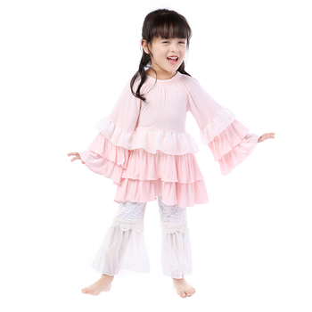 Kaiya Angel 5pcs/lot Hot Children Girls Boutique Clothing Set 3M-16Y Toddler Long Sleeve Ruffle Top + Lace Pant 2pcs Outfits