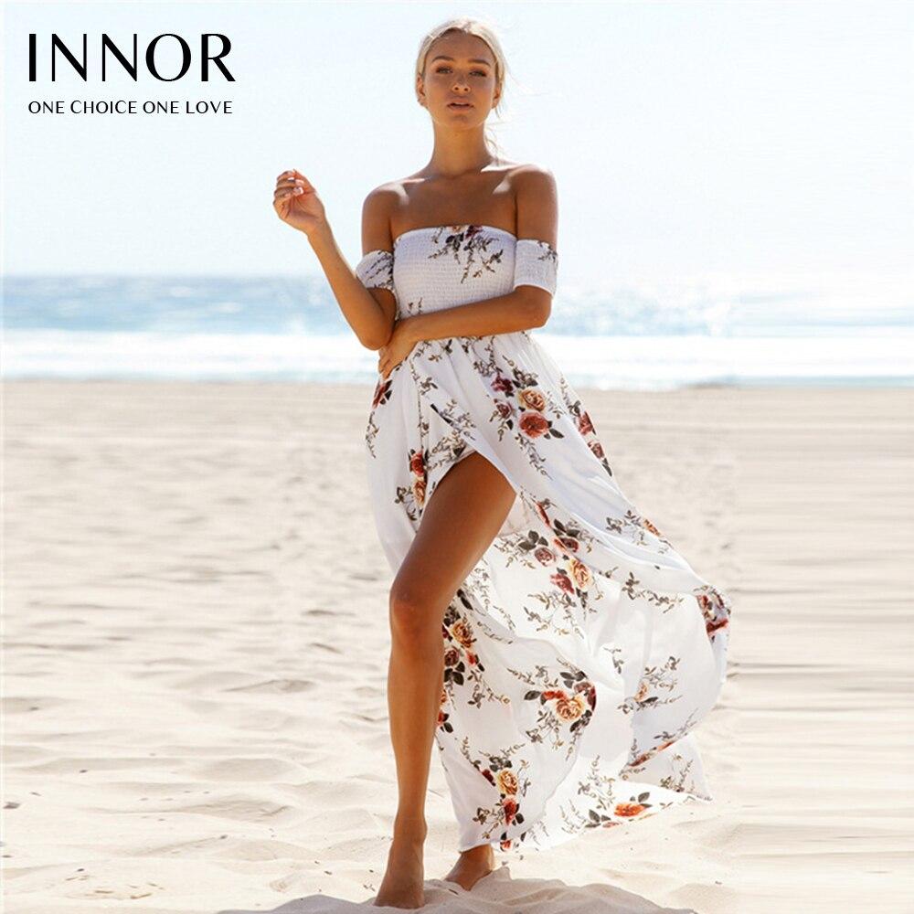 Femmes épaule dénudée plage été robe Boho style longue robe 2017 nouvel an Vintage chifon blanc maxi robe vestidos