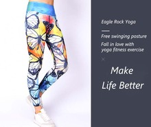 Women's Yoga Pants Blue Butterfly Print YOGA LEGGINGS Activewear for women high waisted summer outfits fitness legging active stitching high waisted yoga leggings in blue