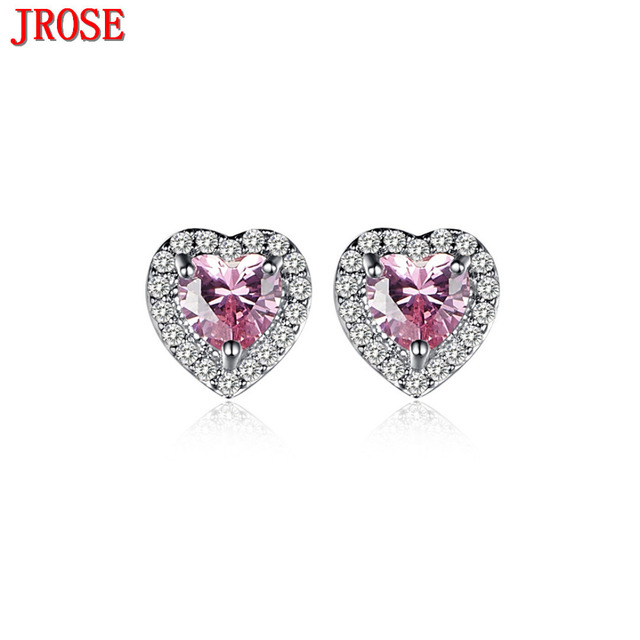 Jrose New Arrival Fashion Love Heart Jewelry Pink White Cz Gold Color Women Stud