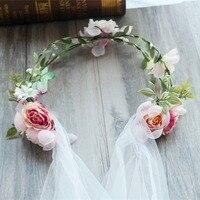 Demoiselle d'honneur Fleur Couronne De Mariage Artificielle Tête De Fleur Guirlande pour les Femmes accessoires De Cheveux De Fleur bandeau Casque
