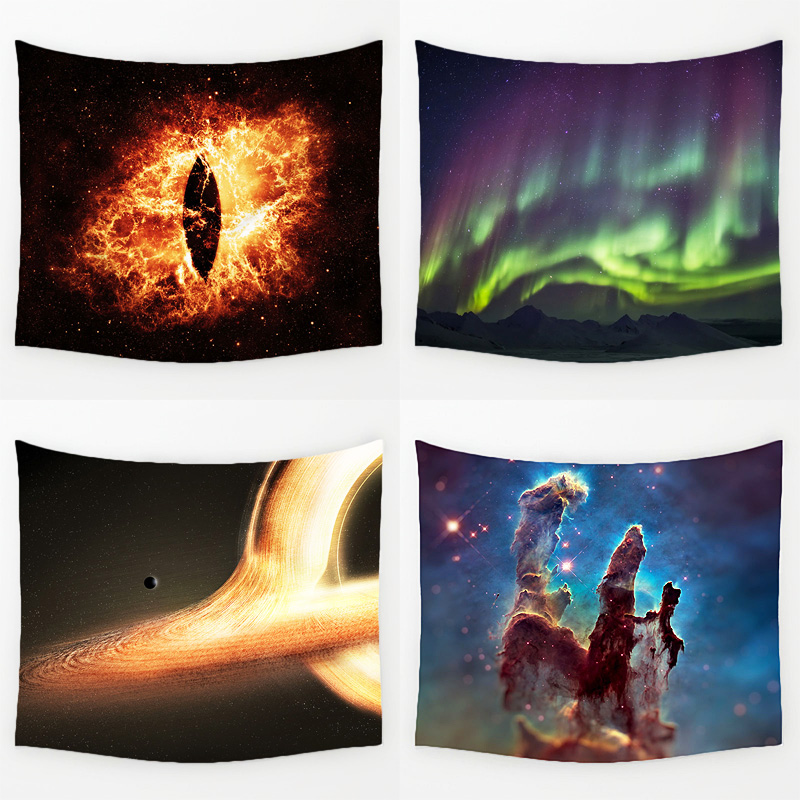Comwarm Magnificent Big Bang Nebula Scenery Durable Wall Hanging Splendid Aurora Printed Tapestry Yoga Mat Rug