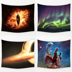 Comwarm Magnificent Big Bang Nebula Scenery Durable Wall Hanging Splendid Aurora Printed Tapestry Yoga Mat Rug Home Decor Art
