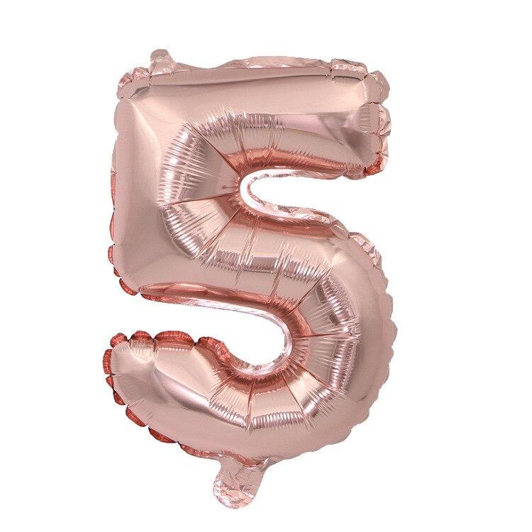 32 дюйма 0-9 Большие Гелиевые цифровые воздушные баллоны фольги детские игрушки на день рождения серебристые золотые розовые вечерние Детские Мультяшные шляпы - Цвет: rose gold 5