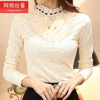 С длинными рукавами плюс бархат утолщение кружева основной рубашку с длинными дизайн одежды женская верхняя